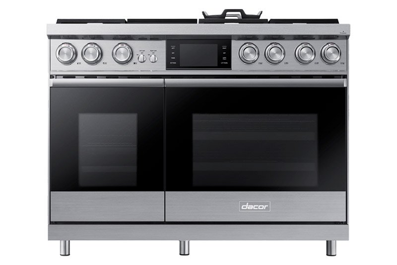 A silver stainless steel Dacor 48 inch contemporary style dual fuel steam range.