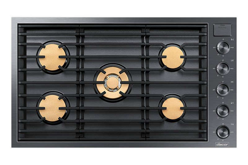 A graphite Dacor contemporary style 36 inch gas cooktop.