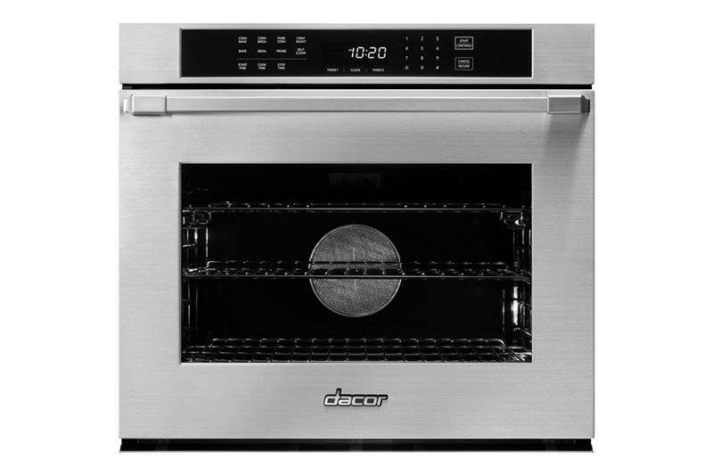 A silver stainless steel Dacor professional style 30 inch single wall oven.