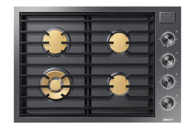 A graphite Dacor contemporary style 30 inch gas cooktop