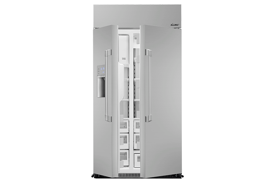 A Dacor side-by-side refrigerator with both refrigerator doors partially open.