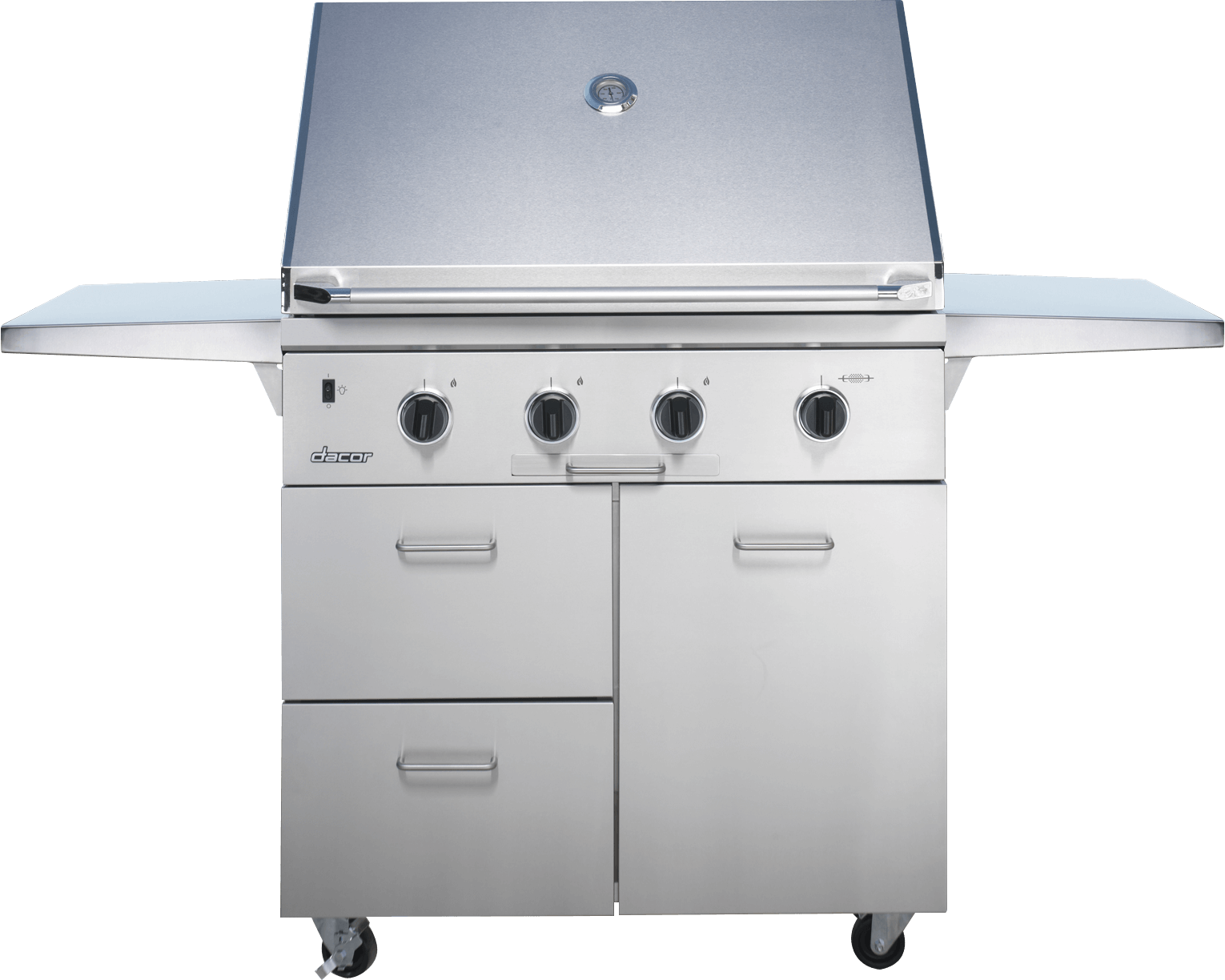 A silver stainless steel Dacor oven range.