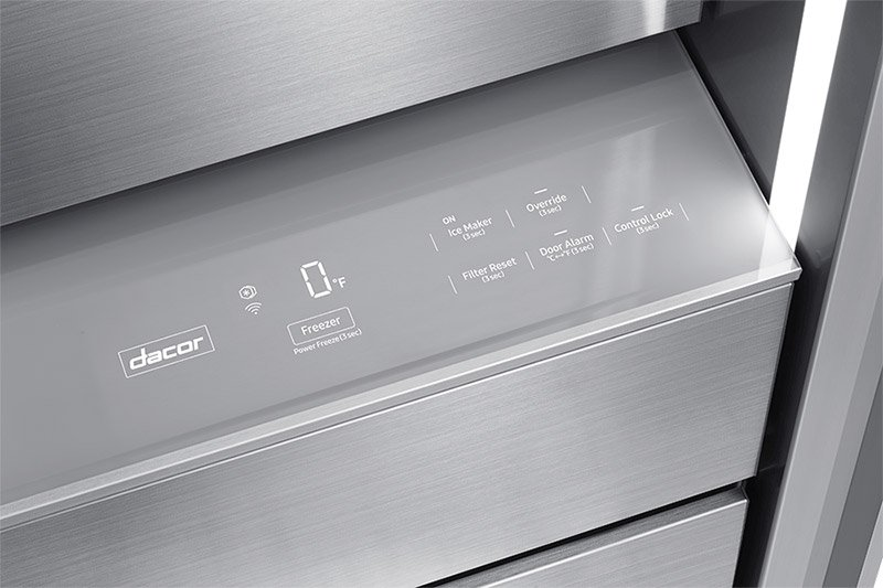 The hidden touch control panel of a Dacor 36 inch panel-ready French door refrigerator.