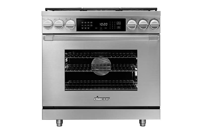 A silver stainless steel Dacor professional style 36 inch dual-fuel range.