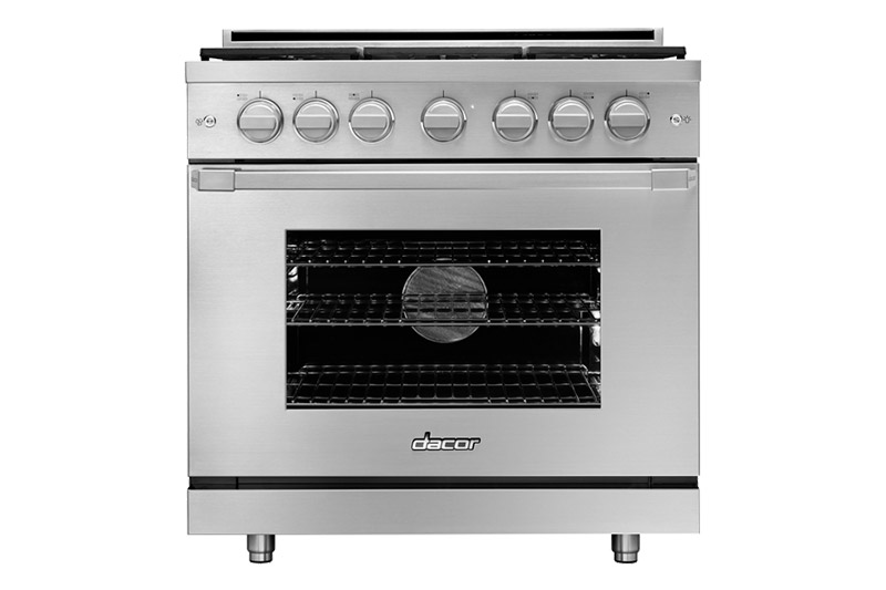 A silver stainless steel Dacor professional style 36 inch gas range.