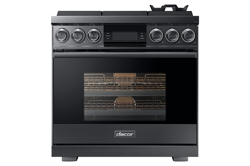 A graphite Dacor contemporary style 36 inch gas range.